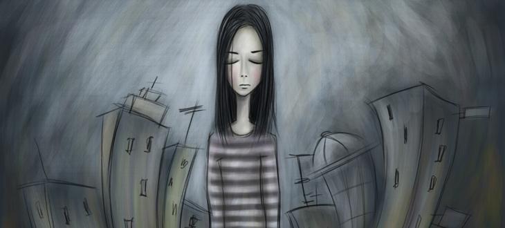 Desenho de uma mulher solitária